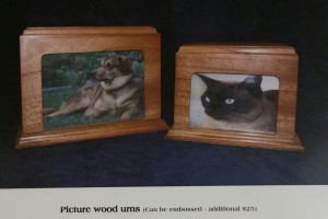 wood picture pet urn