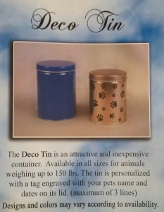 deco tin pet urn