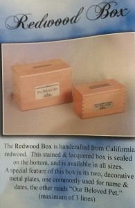 redwood box pet urn