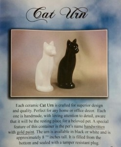 Cat urn - $75 includes name written